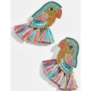 Crystal & Fringe Parrot Tropical Bird Earrings New